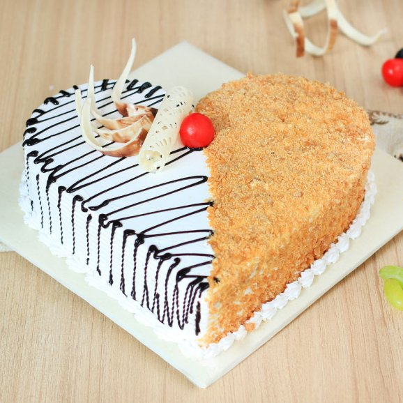 Dual Heart Butter Scotch Cake
