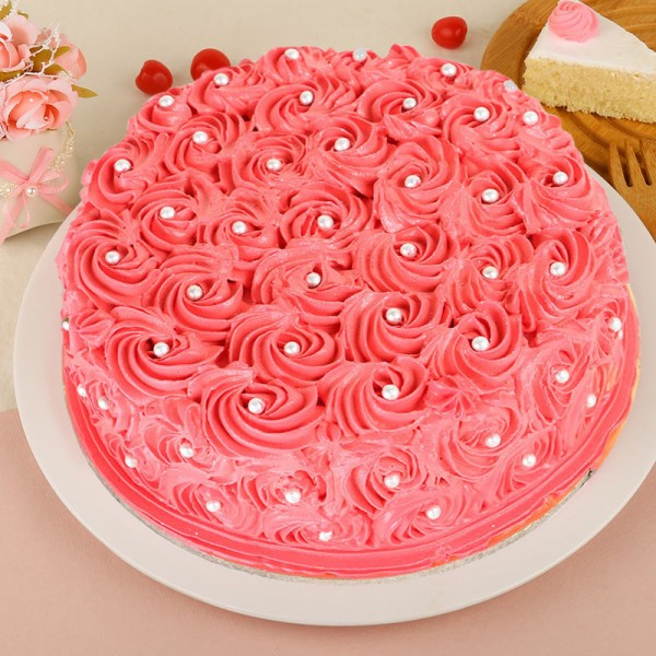 Floral Strawberry Cake