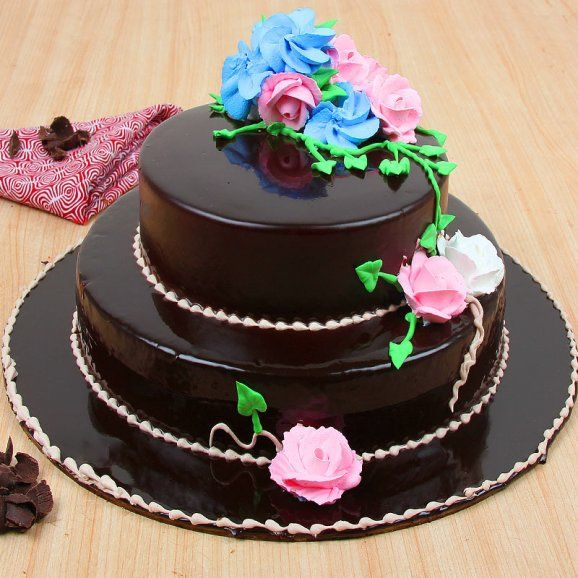 Floral Layered Choco Truffle Cake