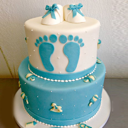 baby Shoes with Legs Fondant Cake