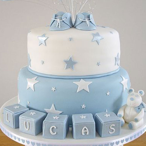 Blue Shoe on Stars Fondant Cake