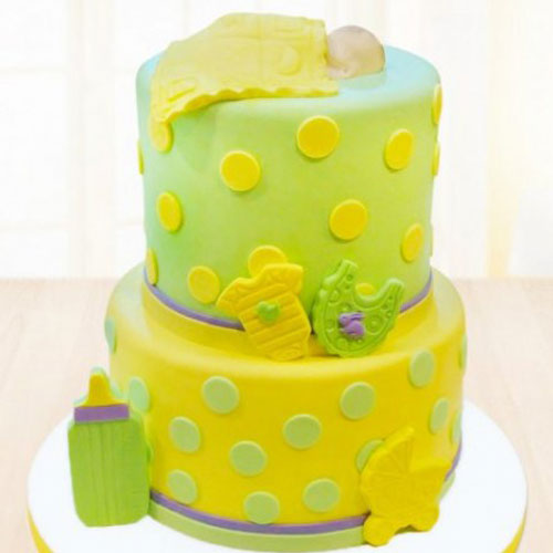 Green Meadows with Baby Fondant Cake