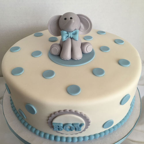 Elephant on Polka Dots  Fondant Cake