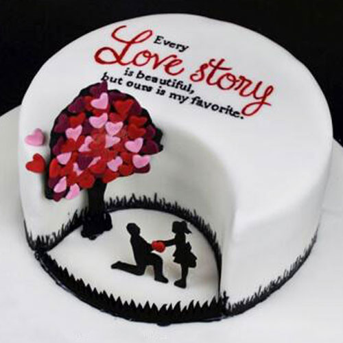Love Tree with Couple Fondant Cake