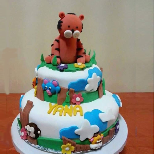 Wild Forest with Tiger Fondant Cake